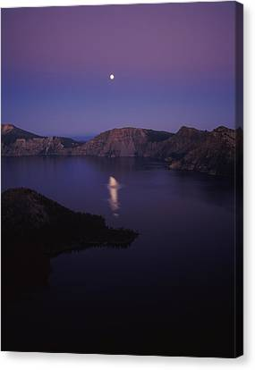 Crater Lake National Park Canvas Print - Moon Reflection In The Crater Lake by Panoramic Images