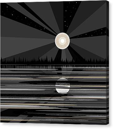 Moon Rise - Black And White Canvas Print by Val Arie