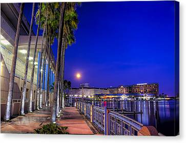 Moon Rise Over Harbor Island Canvas Print by Marvin Spates