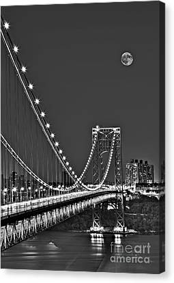 Moon Rise Over The George Washington Bridge Bw Canvas Print by Susan Candelario