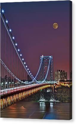 Moon Rise Over The George Washington Bridge Canvas Print