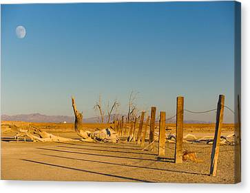 Moon Rise Over Waste Land Canvas Print