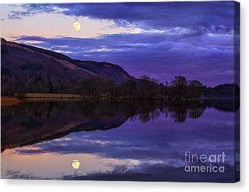 Moon Rising Over Loch Ard Canvas Print by John Farnan