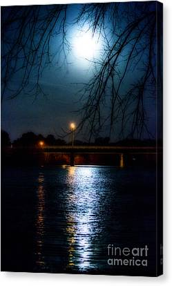 Moon Set Lake Pleasurehouse Canvas Print by Angela DeFrias