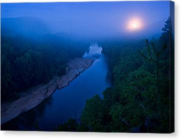Moon Setting Over The Current River Canvas Print by Robert Charity