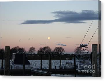 Boats In Water Canvas Print - Moon Setting Over The Marina by John Telfer