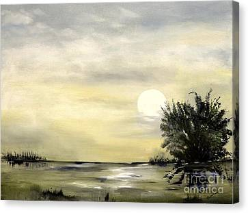 Canvas Print featuring the painting Moon Shadow by Carol Sweetwood