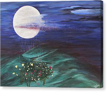 Canvas Print featuring the painting Moon Showers by Cheryl Bailey