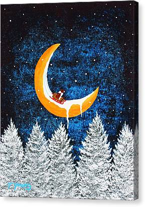 Moon Sledding Canvas Print by Todd Young