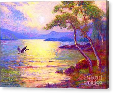 Wild Goose, Moon Song Canvas Print by Jane Small