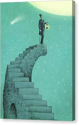 Whimsical Canvas Print - Moon Steps by Eric Fan