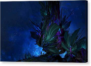 Moon Tree Hills Canvas Print by Cassiopeia Art