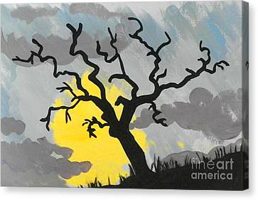 Canvas Print featuring the painting Moon Tree by Marisela Mungia