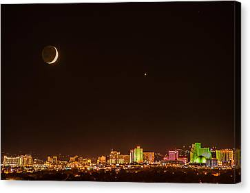 Moon-venus Over Reno Canvas Print by Janis Knight