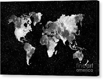 Moon World Map Canvas Print by Delphimages Photo Creations