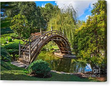 Moonbridge - The Beautifully Renovated Japanese Gardens At The Huntington Library. Canvas Print by Jamie Pham