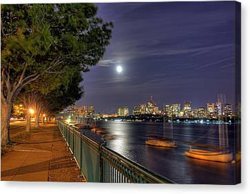 Moonglow Over Boston Canvas Print by Joann Vitali
