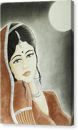 Silver Moonlight Canvas Print - Moonlight Allure by Hema Narayanan
