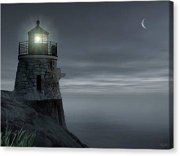 Moonlight At Castle Hill Canvas Print by Lourry Legarde