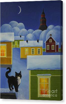 Moonlight Cat Canvas Print by Veikko Suikkanen