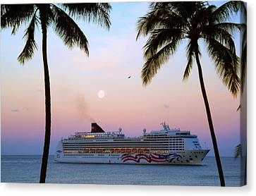 Moonlight Cruise In Paradise Canvas Print