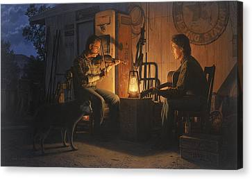 Canvas Print featuring the painting Moonlight Musicians by Ron Crabb