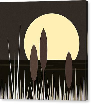 Moonlight On Loon Lake Canvas Print