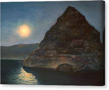 Canvas Print featuring the painting Moonlight On Pyramid Lake by Donna Tucker