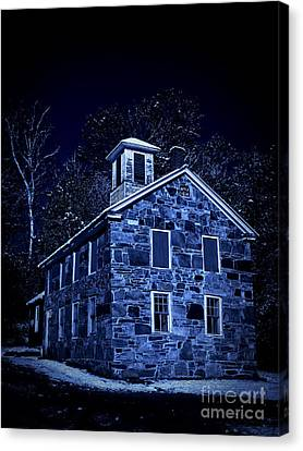 Glowing Moon Canvas Print - Moonlight On The Old Stone Building  by Edward Fielding