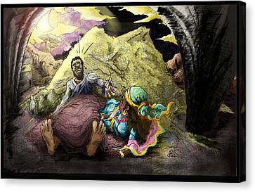 Moonlight On The Threshing Floor   Ruth And Boaz   Canvas Print