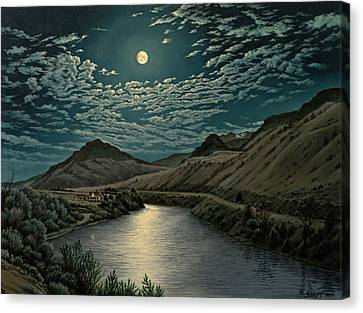 Moonlight On The Yellowstone Canvas Print