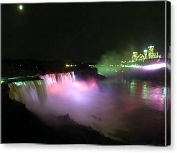 Moonlight Over A Luminous Niagara Falls N.y. Canvas Print by Danielle  Parent