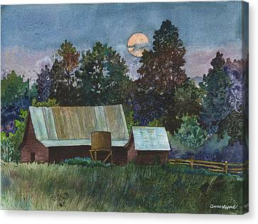 Moonlight Over Caribou Canvas Print