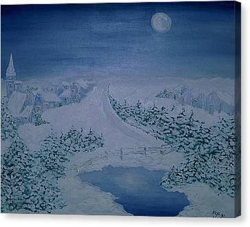 Moonlight Over Kitzbuehel Canvas Print by Inge Lewis