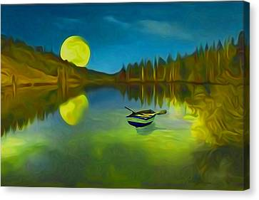 Moonlight Over Lake With Row Boat. Canvas Print by Carlos Villegas