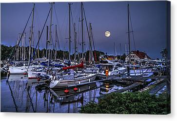 Moonlight Over Yacht Marina In Leba In Poland Canvas Print by Julis Simo