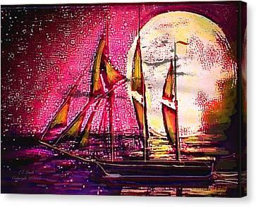 I Am Sailing Canvas Print - Moonlight Passage by Larry Lamb