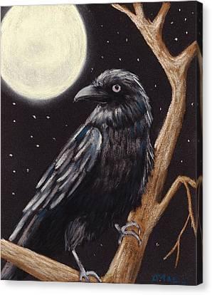 Midnight Canvas Print - Moonlight Raven by Anastasiya Malakhova