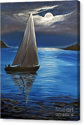 Moonlight Sailing Canvas Print by Patricia L Davidson
