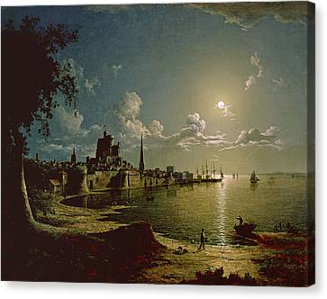 Moonlight Scene, Southampton, 1820 Canvas Print by Sebastian Pether
