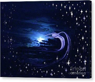 Moonlight Swim Canvas Print by Jacquelyn Roberts
