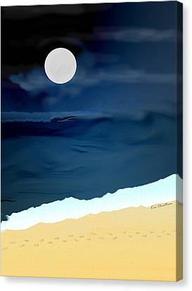 Moonlight Walk At Low Tide Canvas Print