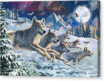 Moonlight Wolfpack Canvas Print by Adrian Chesterman