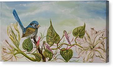 Canvas Print featuring the painting Moonlilly Vine Has A Visitor by Susan Culver