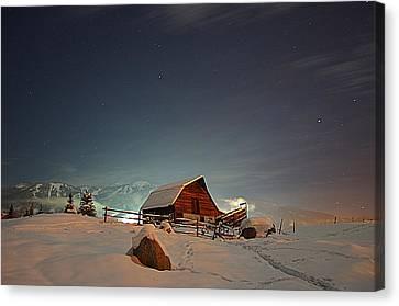 Moonlit Barn Canvas Print by Matt Helm