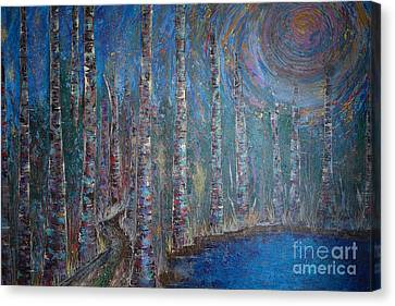 Acrylic Canvas Print - Moonlit Birch Path In Blue by Jacqueline Athmann