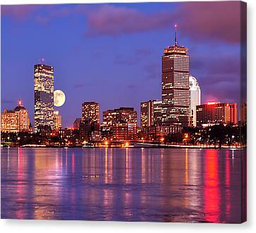 Moonlit Boston On The Charles Canvas Print by Mitchell R Grosky