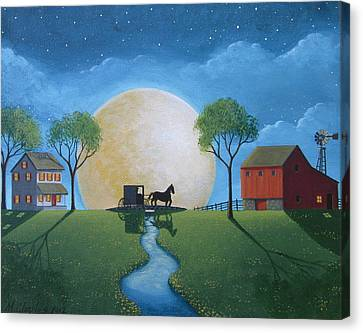 Moonlit Buggy Ride Canvas Print by Mary Charles