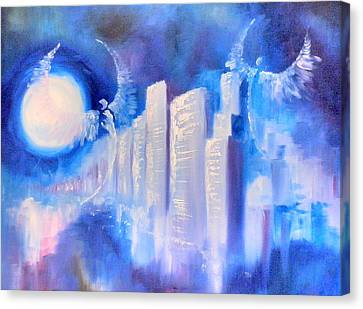 Moonlit City Blue Canvas Print