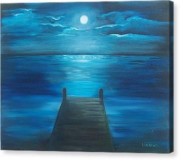 Moonlit Dock Canvas Print by Linda Cabrera